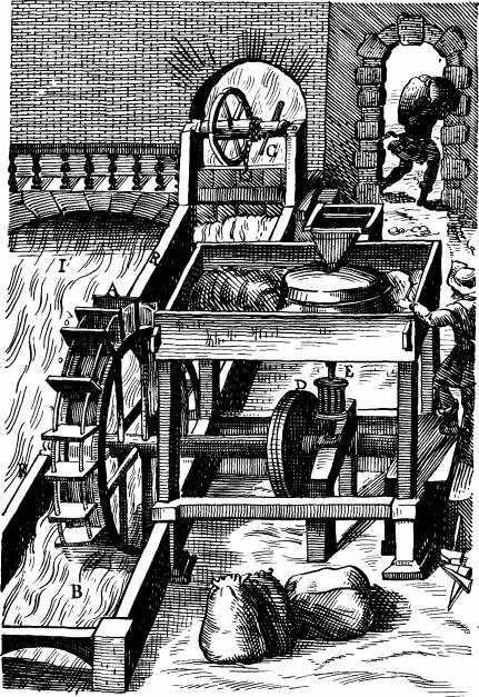 В средние века, инженеры-гидравлики устанавливают мельницы на лодках и мостах, и вместе с... Европа...